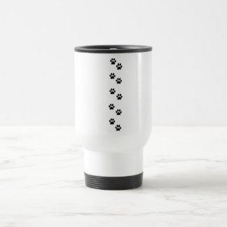 Pattern Of Paws, Dog Paws, Traces - White Black Travel Mug