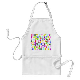 Pattern Of Paws, Dog Paws, Trails - Red Blue Green Adult Apron
