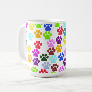 Pattern Of Paws, Dog Paws, Trails - Red Blue Green Coffee Mug