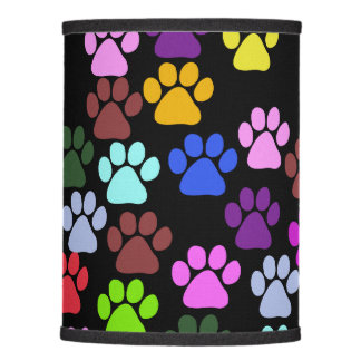 Pattern Of Paws, Dog Paws, Trails - Red Blue Green Lamp Shade