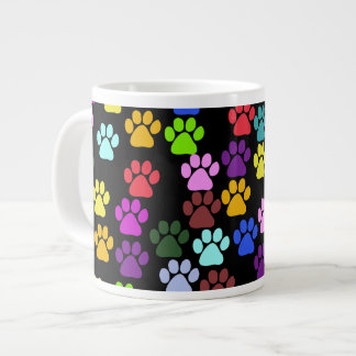 Pattern Of Paws, Dog Paws, Trails - Red Blue Green Large Coffee Mug