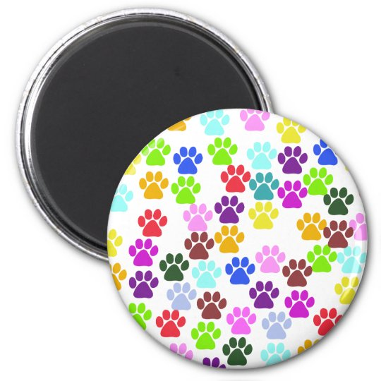 Pattern Of Paws, Dog Paws, Trails - Red Blue Green Magnet
