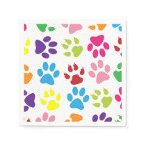 Pattern Of Paws, Dog Paws, Trails - Red Blue Green Napkin