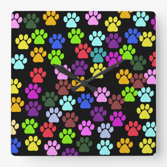 Pattern Of Paws, Dog Paws, Trails - Red Blue Green Square Wall Clock