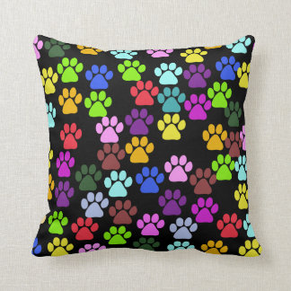 Pattern Of Paws, Dog Paws, Trails - Red Blue Green Throw Pillow