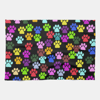 Pattern Of Paws, Dog Paws, Trails - Red Blue Green Towel