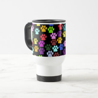 Pattern Of Paws, Dog Paws, Trails - Red Blue Green Travel Mug