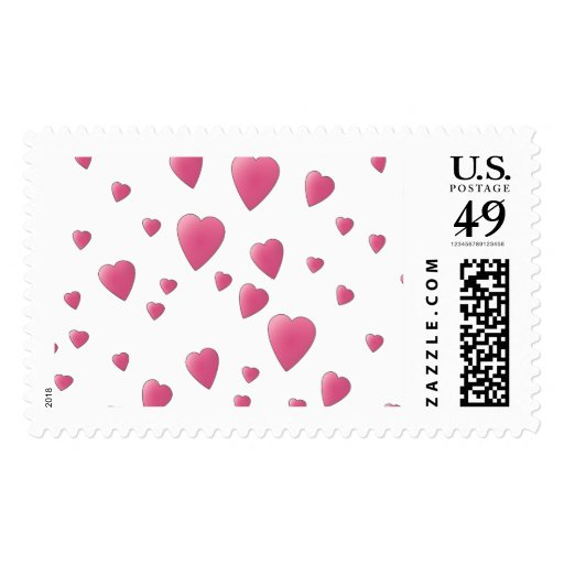 Pattern of Pretty Pink Love Hearts. Stamps