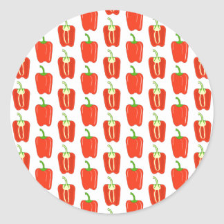 Pattern of Red Peppers. Classic Round Sticker