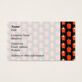 Pattern of Red Peppers, on Black. Business Card