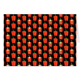 Pattern of Red Peppers, on Black. Card