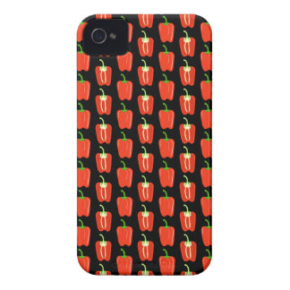 Pattern of Red Peppers, on Black. iPhone 4 Covers