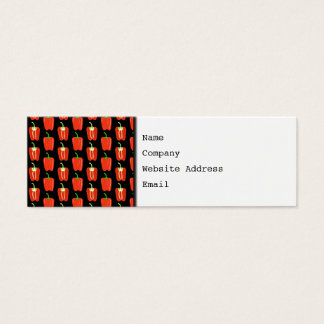 Pattern of Red Peppers, on Black. Mini Business Card