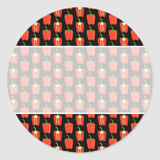 Pattern of Red Peppers, on Black. Round Stickers