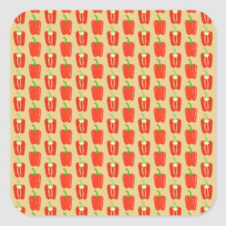 Pattern of Red Peppers. Square Stickers
