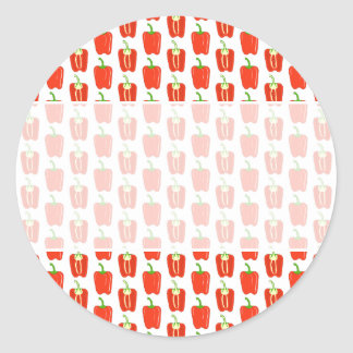 Pattern of Red Peppers. Round Sticker