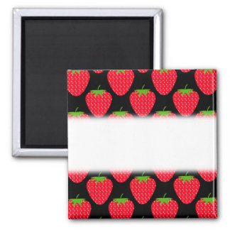 Pattern of Red Strawberries on Black 2 Inch Square Magnet