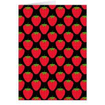 Pattern of Red Strawberries on Black Card