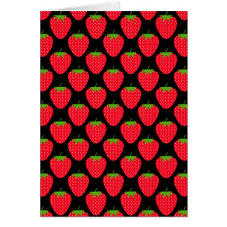 Pattern of Red Strawberries on Black Greeting Cards