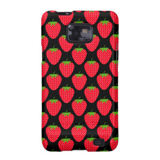 Pattern of Red Strawberries on Black Samsung Galaxy Case