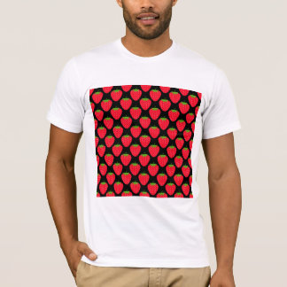 Pattern of Red Strawberries on Black T-Shirt