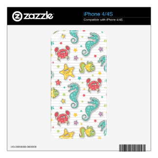 pattern of sea creatures decal for iPhone 4