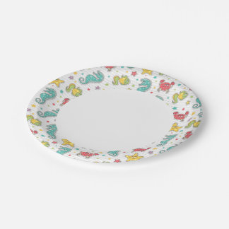pattern of sea creatures paper plate
