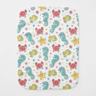 pattern of sea creatures baby burp cloths