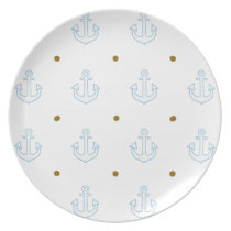 pattern of small white anchors melamine plate