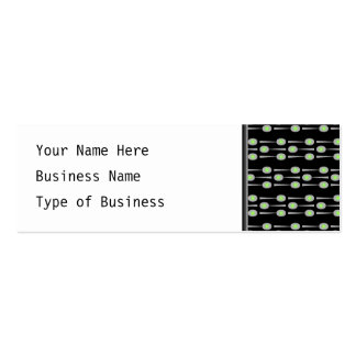 Pattern of Spoons, with Green Splat. On Black. Business Cards