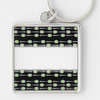 Pattern of Spoons, with Green Splat. On Black. Silver-Colored Square Keychain