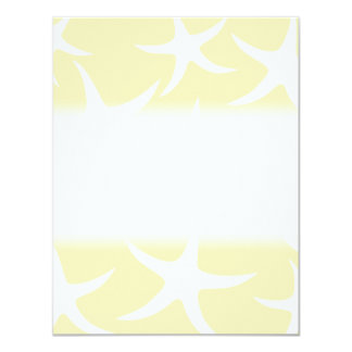 Pattern of Starfish in White and Yellow. 4.25x5.5 Paper Invitation Card