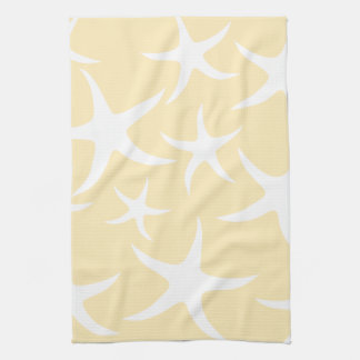 Pattern of Starfish in White and Yellow. Hand Towels