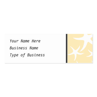 Pattern of Starfish in White and Yellow. Mini Business Card