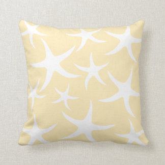 Pattern of Starfish in White and Yellow. Throw Pillow
