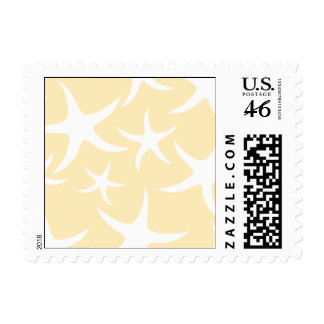 Pattern of Starfish in White and Yellow. Postage Stamps