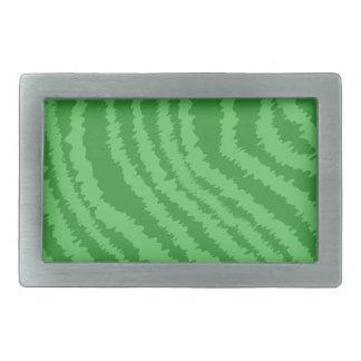 Pattern of Wavy Green Stripes. Rectangular Belt Buckle