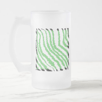 Pattern of Wavy Green Stripes. Black Ends. Frosted Glass Beer Mug