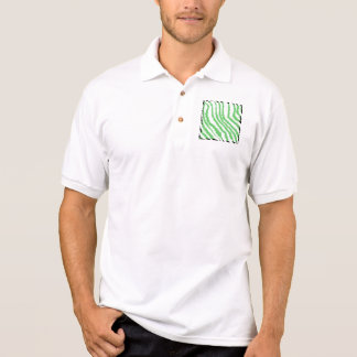 Pattern of Wavy Green Stripes. Black Ends. Polo Shirt