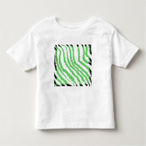 Pattern of Wavy Green Stripes. Black Ends. Toddler T-shirt