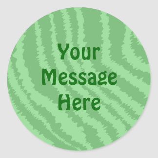 Pattern of Wavy Green Stripes. Classic Round Sticker