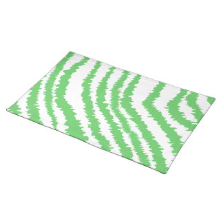 Pattern of Wavy Green Stripes. Cloth Placemat
