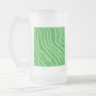 Pattern of Wavy Green Stripes. Frosted Glass Beer Mug