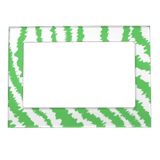 Pattern of Wavy Green Stripes. Magnetic Frame