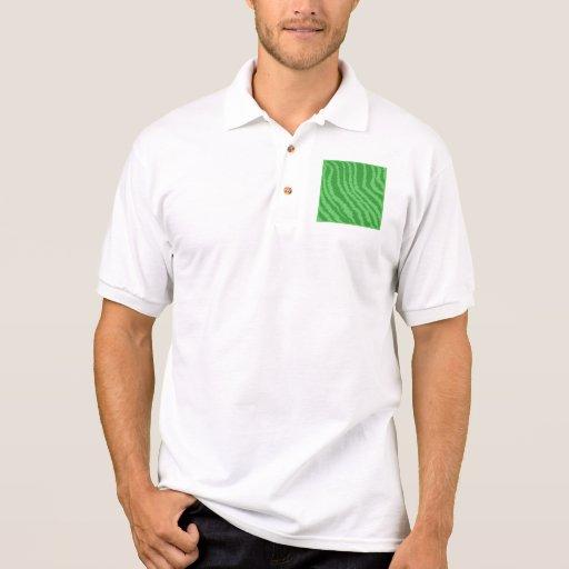 Pattern of Wavy Green Stripes. Polo Shirt