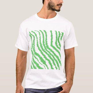 Pattern of Wavy Green Stripes. T-Shirt