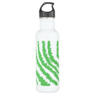 Pattern of Wavy Green Stripes. Water Bottle