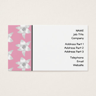 Pattern of White Lilies on Pink. Business Card