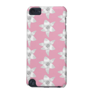 Pattern of White Lilies on Pink iPod Touch (5th Generation) Covers