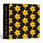 Pattern of Yellow Lilies on Black. 3 Ring Binder